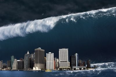 Dreaming of a wave threatening a city may relate to something that's threatening your world.