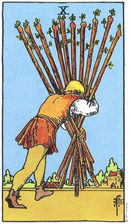 Meaning of card: struggling  fighting uphill doing everything the hard way experiencing resistance pushing against the current having to work for every gain finding that nothing comes easily laboring
