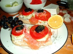 Recipe for Smoked Salmon and Caviar bruschetta, served on homemade Ciabatta.