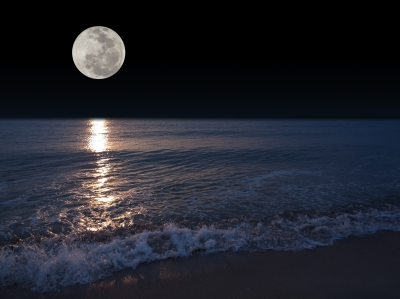 Ocean dreams should be interpreted in context.  The moon is also a symbol of emotional influence and can also have feminine meanings.  The shoreline can relate to the edge of the dreamer's conscious mind and unconsciousness.