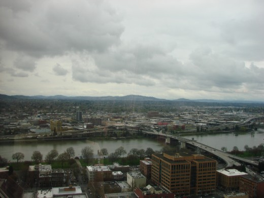 View from Portland City Grille overlooking the Willamette river.