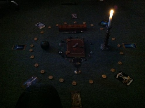 A wonderful spell centre piece that we created, one of my personal favourites and perhaps the most elaborate and well thought out spell we have worked as a coven.