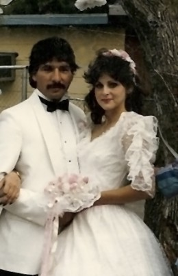 Geegee77 and Chico on her wedding day which just happens to be her birthday April 19, 1986