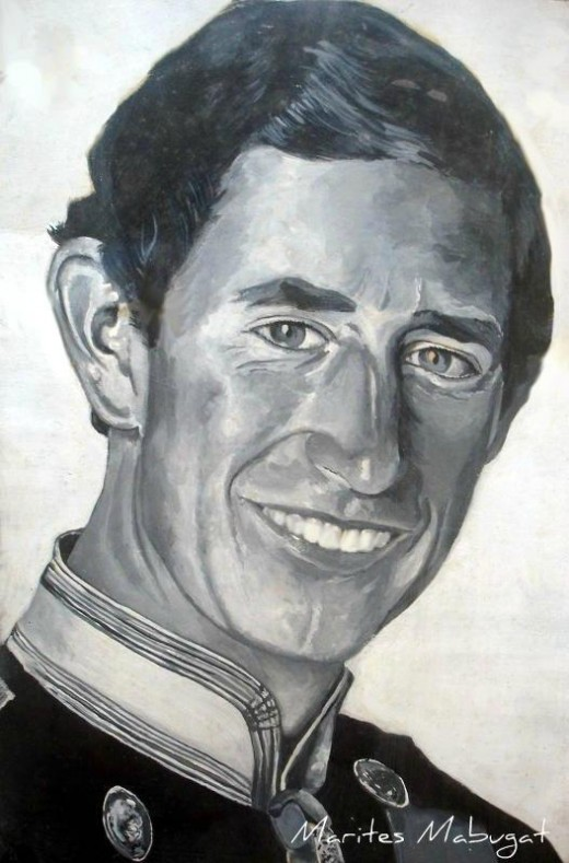 Portrait/Illustration; Medium - poster colour ~~~ A portrait of the Prince of Wales on illustration board.