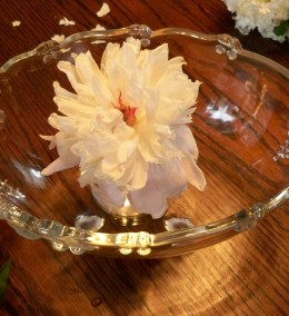 Position jar inside bowl and carefully remove flower.  Set it in a cup of water until the next step is complete.