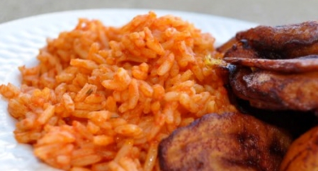 A plate of jollof rice and plaintain