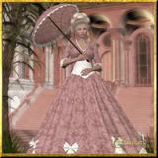 Notice the pretty hoop skirt, parasol and fashionable hat? Be advised. This girl and those like her, helped to forge the south into the great land that she is today.
