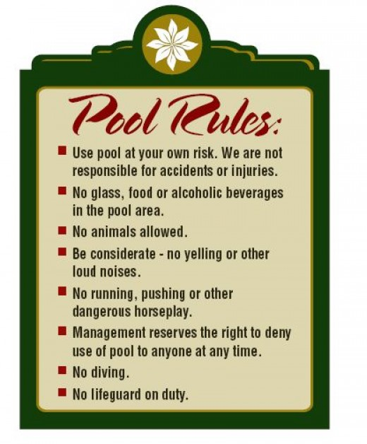 This one example of a Pool Rules sign.