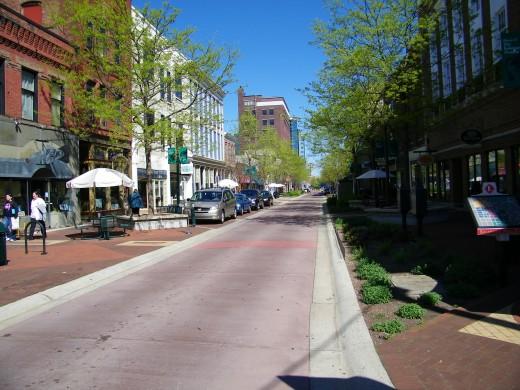 A Kalamazoo downtown street scene