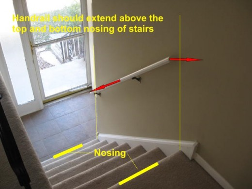 Handrail should extend above the top and bottom nosing of stairs