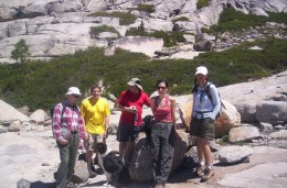 Larry (left), Gurr, and 4 other friends on the Enchanted Pools loop hike, near Wrights Lake.