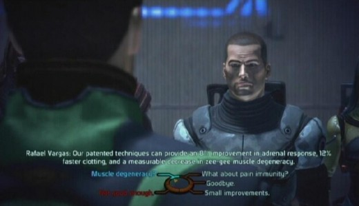 the dialogue wheel, presenting a variety of options for the player to pursue.