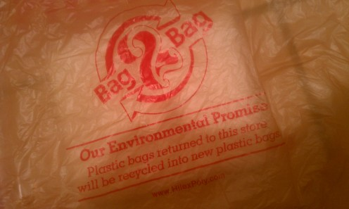 Some plastic grocery bags can be returned to the store for recycling.