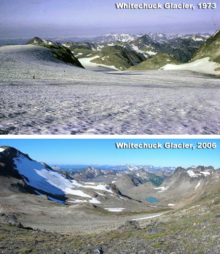 Whitechuck Glacier, Glacier Peak, Washington State, has retreated 1.2 miles in 33 years.