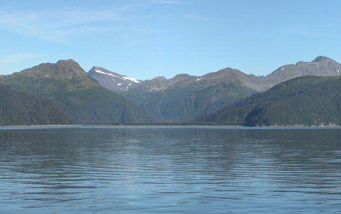 McCarty Glacier has retreated back into the mountains as of 2004.