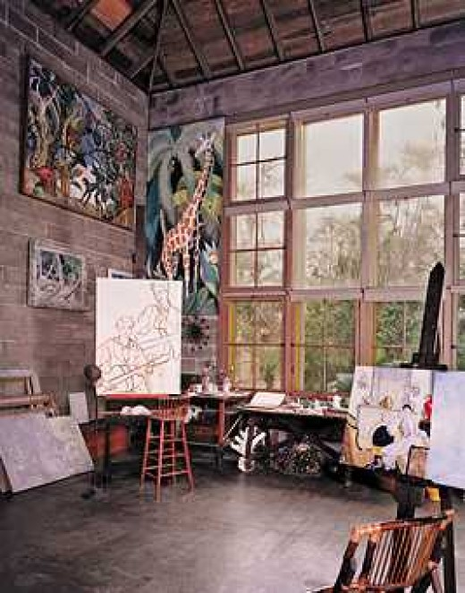 A beautiful home studio-gallery of Evelyn Fortune Bartlett. Visit a short story-description at http://bocaratonhomesforsale.blogspot.ca/2012/02/bonnet-house-museum-gardens-in-ft.html