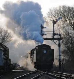 A locomotive running tender-first on the Great Central Railway at Rothley - locomotives carried lamp brackets front and rear for all eventualities