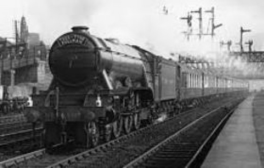 LNER Class A3 with Up Tees-Tyne Pullman leaving York under Holgate Bridge - express headlamp code