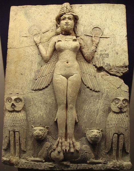 The Burney/Queen of the Night Relief showing the winged goddess Ishtar or Lilleth circa 1790 BCE