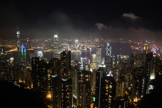 "Hong Kong's Skyline at night.  The city is dubbed the ""Manhattan of Asia""."