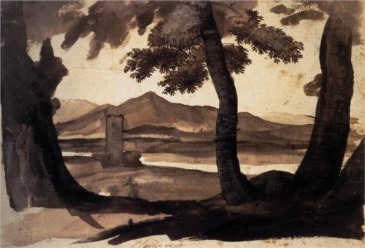 "Claude Lorrain, ""View of the Campagna,"" ink on paper, 1669, British Museum"