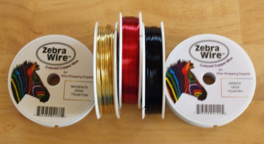 Zebra Wire™, copper wire with seven layers of colored enamel on it — the wire preferred by the author for jewelry-making