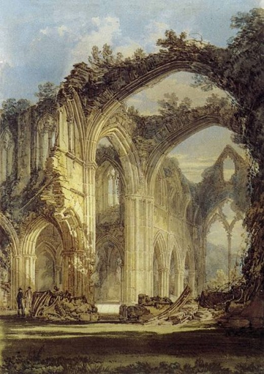 "J.M.W. Turner, ""The Chancel and Crossing of Tintern Abbey,"" pencil and watercolour on paper, 1794, Tate Gallery, London"
