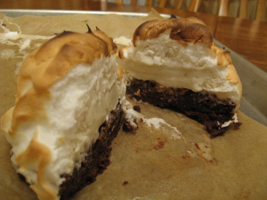Baked Alaska with Vanilla Ice-Cream and Chocolate Brownie Base