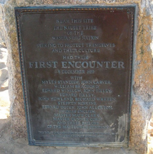 The memorial plaque at First Encounter Beach, in Eastham.