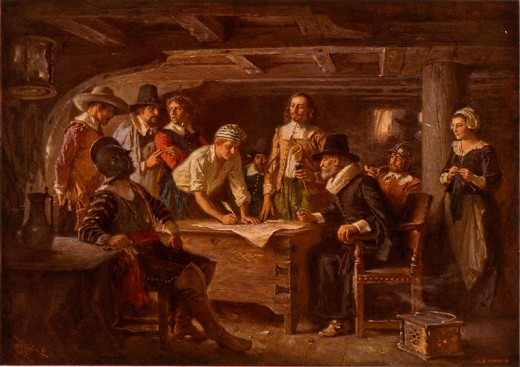 The signing of the Mayflower Compact, in Provincetown Harbor.