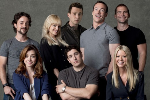 The cast of American Reunion includes (clockwise from top left) Thomas Ian Nicholas, Mena Suvari, Eddie Kaye Thomas, Chris Klein, Sean William Scott, Tara Reid, Jason Biggs and Allyson Hannigan