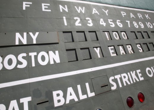 The famous left field scoreboard before the game on April 20th, 2012 celebrating Fenway Park's 100th birthday.