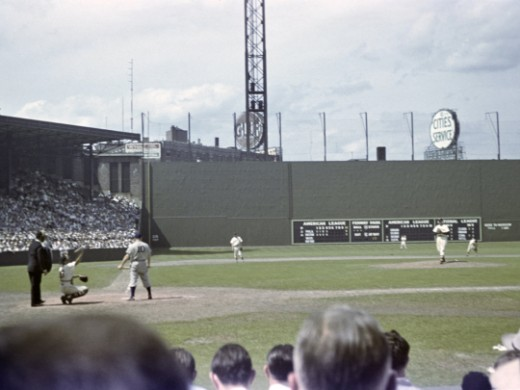 A game on July 3rd 1947, with the newly built Green Monster in the background.