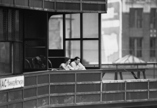 Former owner of the Red Sox, Tom Yawkey, sits with his wife overlooking the stadium in 1946.