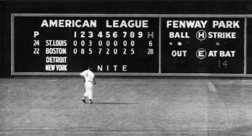 Ted Williams checks the score on the left field scoreboard in 1950.