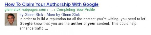 A search listing after claiming authorship