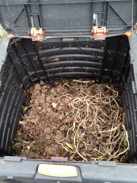 My compost bin with material inside