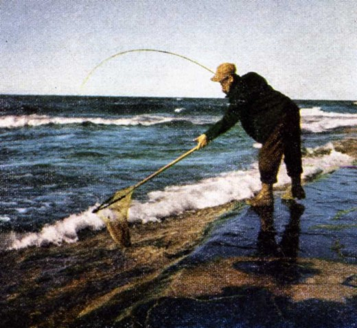 Photos from the article in Field & Stream that featured Uncle Lionel's surf fishing techniques