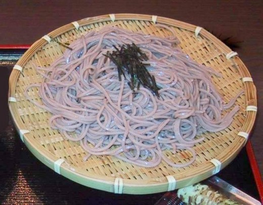 Cold soba on a bamboo tray