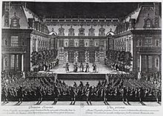 Jean-Baptiste de Lully's Alceste Ballet in the marble courtyard at the Palace of Versailles