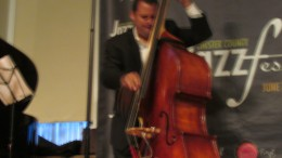 Matthew Parrish, gets down on the bass.