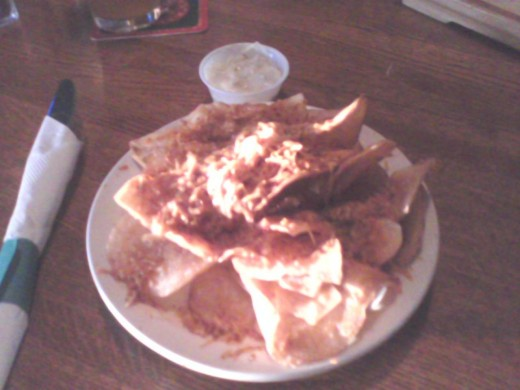 Grump chips, super yummy with a Gorgonzola cheese dipping sauce