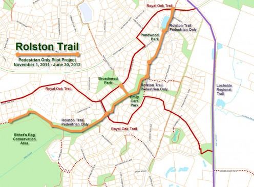 Rolston Trail Pedestrian Only Pilot Project Map