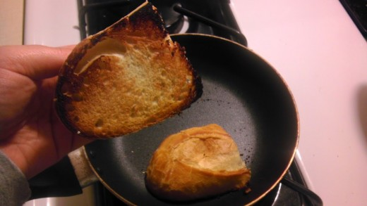 "After about 10 minutes, voila! Perfectly ""grilled"" bread.  Add some butter and you're good to go."