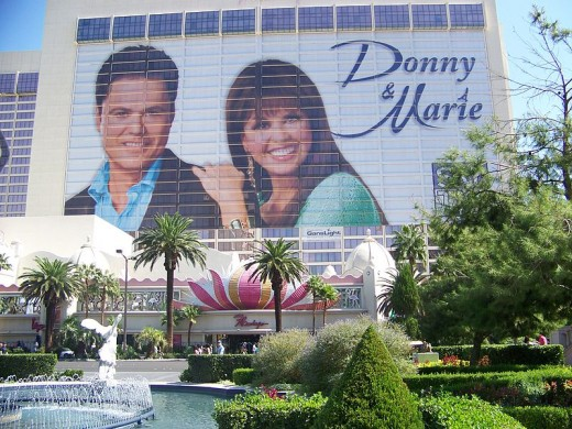 The side of the Flamingo Hotel advertising The Donny And Marie show!