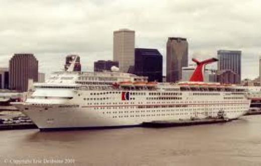 This is the Carnival cruise ship, the Sensation docked in New Orleans after Katrina. We lived on her for 6 months.