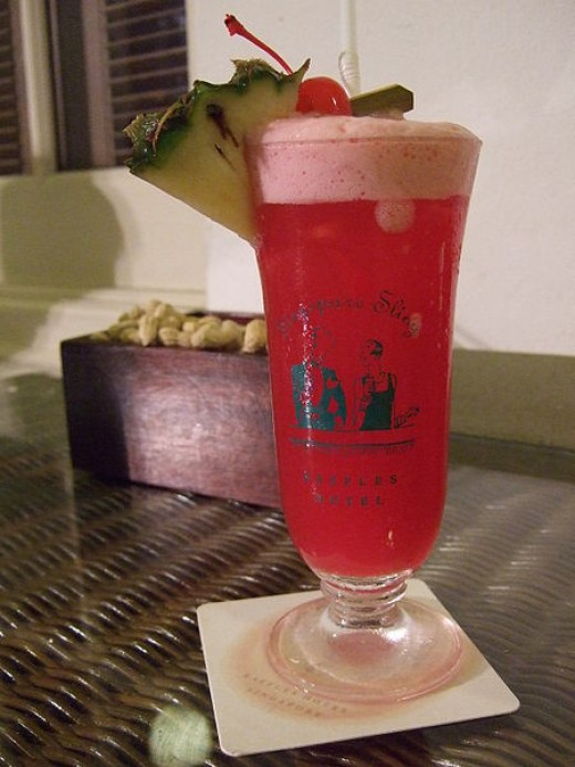 The signature Singapore sling cocktail