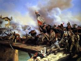 Napoleon leading his men over the Bridge in Arcole