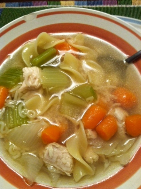 Homemade chicken noodle soup with lots of vegetables.