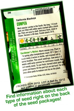Almost everything you need to know about how to grow each type of seed can be found on the back of the package!